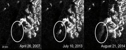 Nisan 2007, Temmuz 2013 ve Ağustos 2014'te elde edilen görüntüler.[Fotoğraf: NASA]