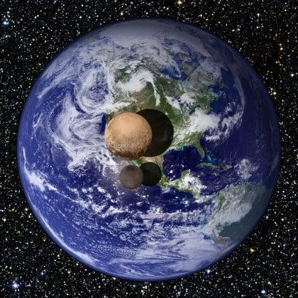 Pluto ve Charon'un Dünya ile büyüklük karşılaştırması